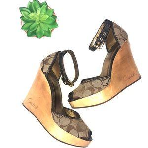 Coach signature logo platform wedge wooden heels